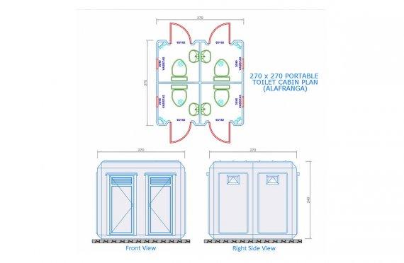 270x270 Verplaatsbare Toilet & Douche Cabine