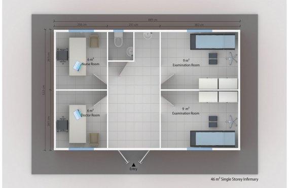 Elementenbouw Ziekenzaal 46m²