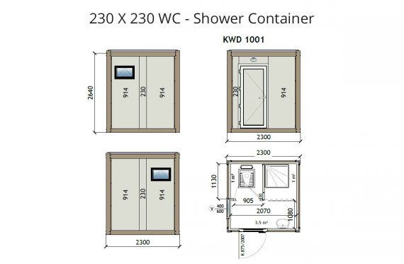 KW2 230X230 WC - Douche Container