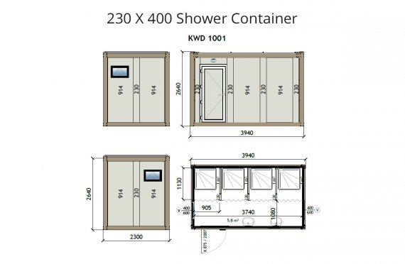 KW4 230X400 Douche Container