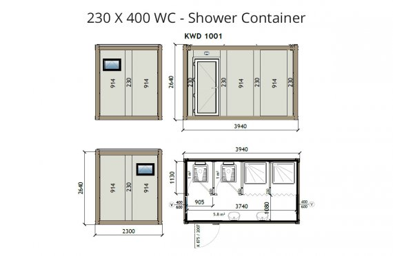 KW4 230X400 WC - Douche Container