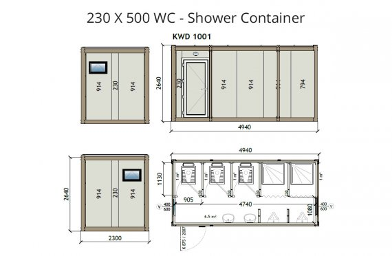 KW6 230X500 WC - Douche Container