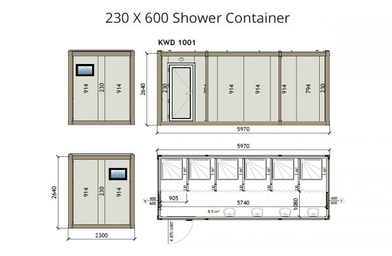 KW6 230X600 Douche Container