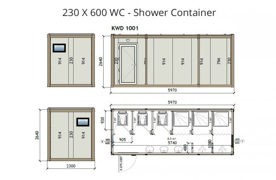 KW6 230X600 WC - Douche Container